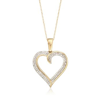 """.22 ct. t.w. Diamond Open-Space Heart Pendant Necklace in 14kt Yellow Gold. 18"""", , default"""