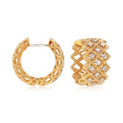 "Roberto Coin ""Barocco"" .41 ct. t.w. Diamond Three-Row Hoop Earrings in 18kt Yellow Gold. 5/8"", , default"
