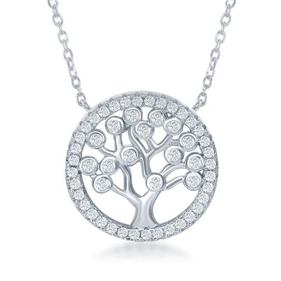 .60 ct. t.w. CZ Tree of Life Necklace in Sterling Silver, , default