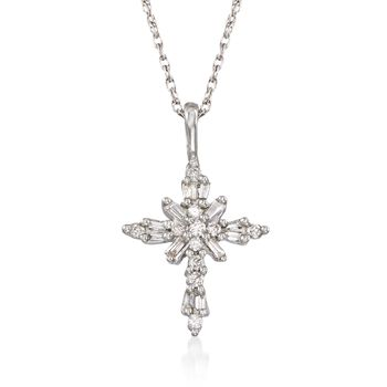 ".24 ct. t.w. Baguette and Round Diamond Cross Pendant Necklace in Sterling Silver. 18"", , default"