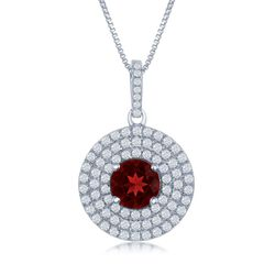 1.60 Carat Garnet and .75 ct. t.w. White Topaz Pendant Necklace in Sterling Silver, , default