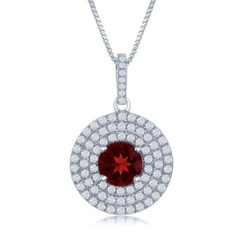 """1.60 Carat Garnet and .75 ct. t.w. White Topaz Pendant Necklace in Sterling Silver. 17.25"""", , default"""