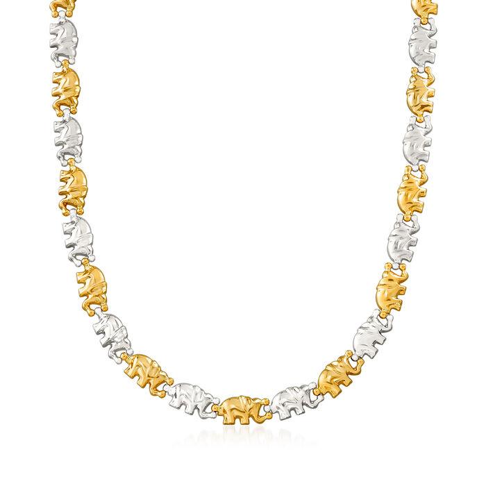 C. 1990 Vintage 18kt Two-Tone Elephant Necklace