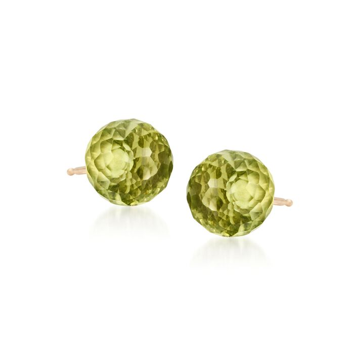 3.80 ct. t.w. Peridot Stud Earrings in 14kt Yellow Gold