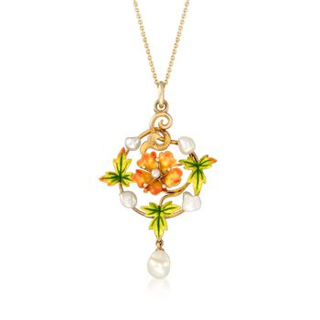 """C. 1912 Vintage Enamel and Cultured Pearl Floral Pendant Necklace in 14kt and 18kt Yellow Gold. 16"""", , default"""