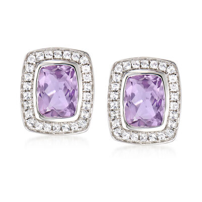 2.50 ct. t.w. Amethyst and .40 ct. t.w. White Topaz Earrings in Sterling Silver