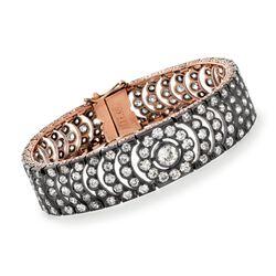 C. 1980 Vintage 12.50 ct. t.w. Diamond Bracelet in Sterling Silver and 10kt Rose Gold, , default