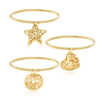 Italian 18kt Yellow Gold Jewelry Set: Three Filigree Charm Rings