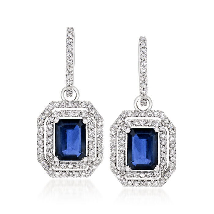 3.90 ct. t.w. Sapphire and 1.00 ct. t.w. Diamond Drop Earrings in 14kt White Gold, , default