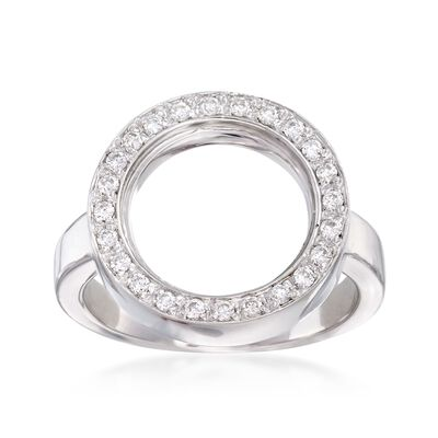 C. 1990 Vintage .40 ct. t.w. Diamond Open Circle Ring in 18kt White Gold, , default