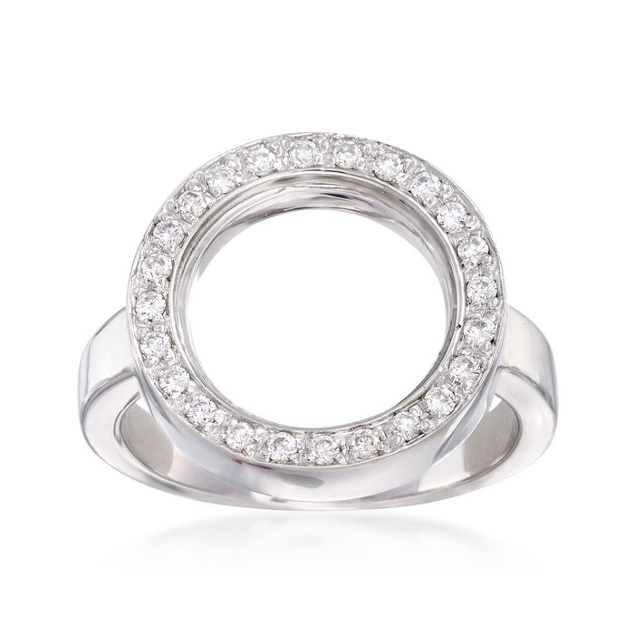 C. 1990 Vintage .40 ct. t.w. Diamond Open Circle Ring in 18kt White Gold. Size 6.5, , default