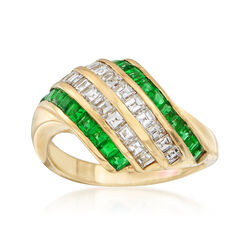 C. 2000 Vintage .85 ct. t.w. Emerald and .76 ct. t.w. Diamond Diagonal Stripe Ring in 18kt Yellow Gold. Size 6.25, , default