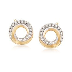 .11 ct. t.w. Diamond Open Circle Earrings in 14kt Yellow Gold, , default
