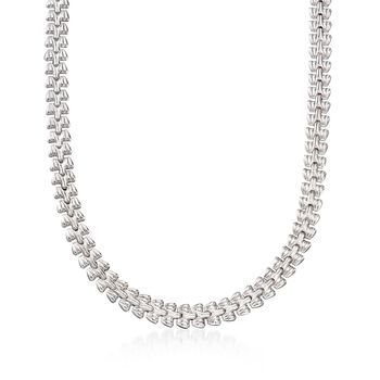 Italian Sterling Silver Stampato Link Necklace, , default