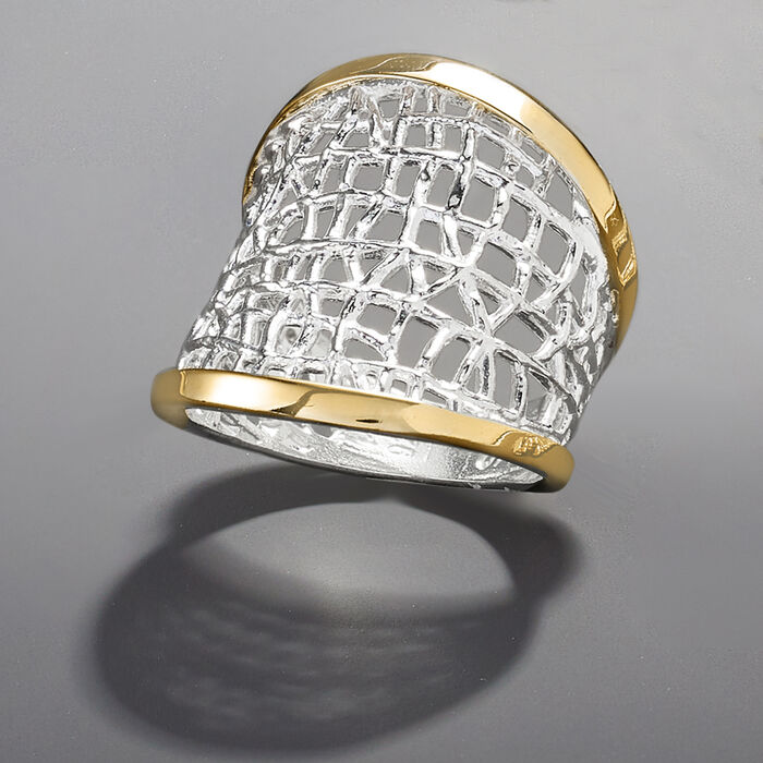Sterling Silver and 14kt Yellow Gold Free-Form Lattice Ring