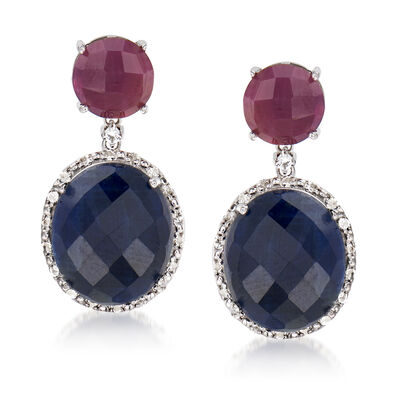 14.00 ct. t.w. Sapphire, 4.90 ct. t.w. Ruby and .40 ct. t.w. White Topaz Drop Earrings in Sterling Silver