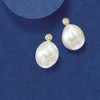 Cultured Baroque Pearl and .10 ct. t.w. Diamond Earrings in 14kt Yellow Gold