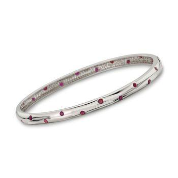 """1.20 ct. t.w. Burnish-Set Ruby Bangle Bracelet in Sterling Silver. 7"""", , default"""