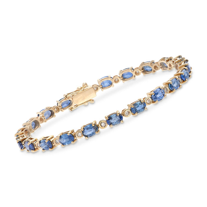 12.00 ct. t.w. Sapphire and .48 ct. t.w. Diamond Bracelet in 14kt Yellow Gold. 8""