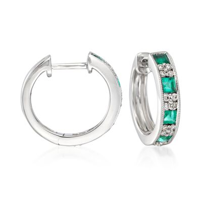 "Gregg Ruth .70 ct. t.w. Emerald and .24 ct. t.w. Diamond Hoop Earrings in 18kt White Gold. 1/2"", , default"