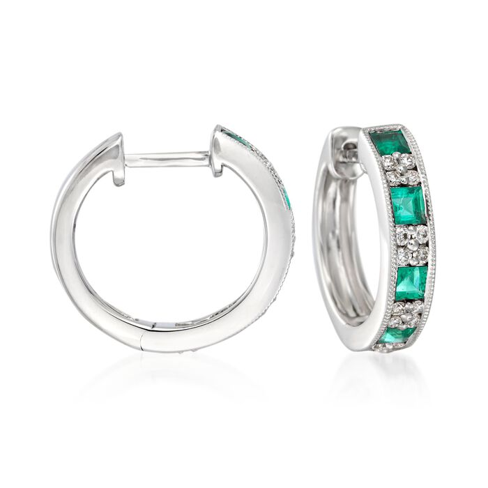 Gregg Ruth .70 ct. t.w. Emerald and .24 ct. t.w. Diamond Hoop Earrings in 18kt White Gold. 1/2""