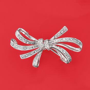 .10 ct. t.w. Diamond Ribbon Pin in Sterling Silver.