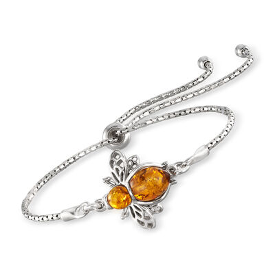 Amber Bumble Bee Bolo Bracelet in Sterling Silver, , default