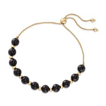 Black Onyx and 14kt Yellow Gold Bead Bolo Bracelet, , default