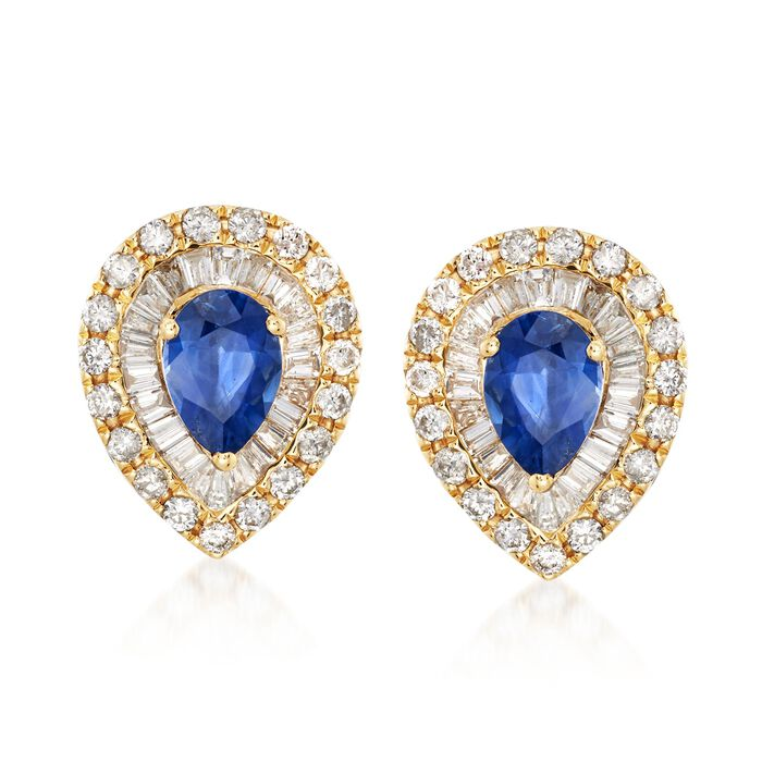 1.60 ct. t.w. Sapphire and 1.12 ct. t.w. Diamond Teardrop Earrings in 18kt Yellow Gold , , default