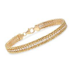 Italian 2.60 ct. t.w. CZ Wheat Chain Bracelet in 14kt Yellow Gold, , default