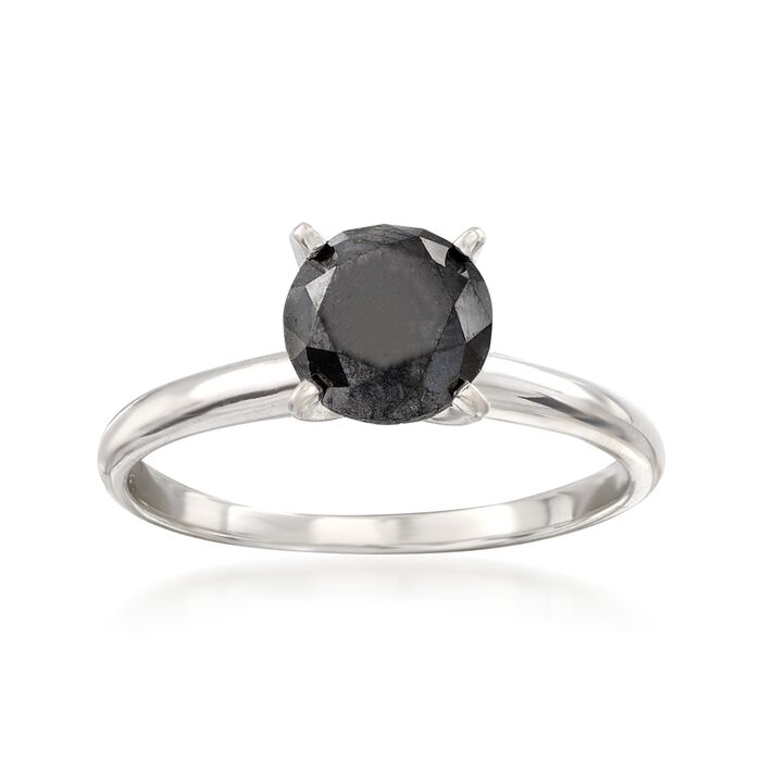 1.00 Carat Black Diamond Solitaire Ring in 14kt White Gold, , default