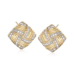 .76 ct. t.w. Diamond Basketweave Earrings in 18kt Yellow Gold Over Sterling , , default