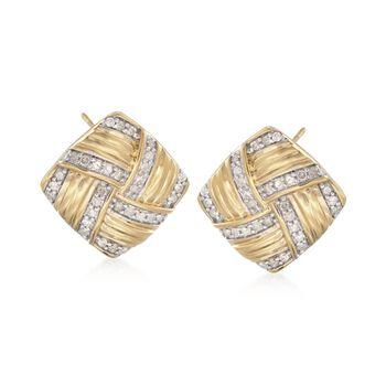 .76 ct. t.w. Diamond Basketweave Earrings in 18kt Yellow Gold Over Sterling , , default