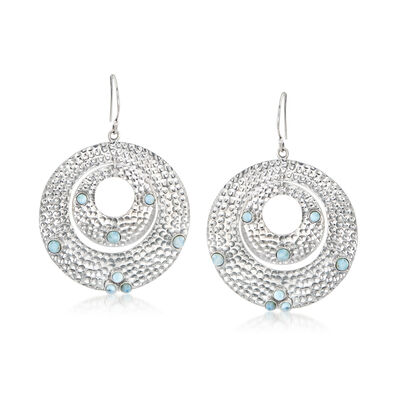 Larimar Double-Circle Drop Earrings in Sterling Silver