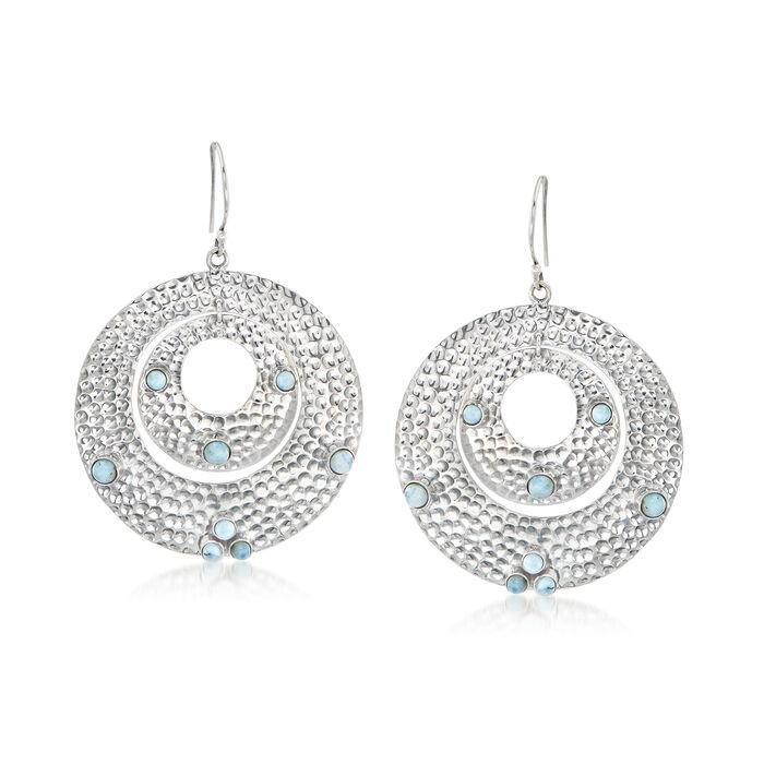 Larimar Double-Circle Drop Earrings in Sterling Silver