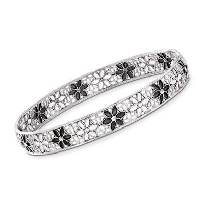 Italian Sterling Silver and Black and White Enamel Floral Filigree Bangle Bracelet, , default