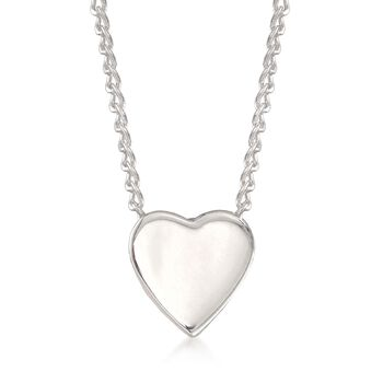 "Zina Sterling Silver ""Contemporary"" Mini Heart Necklace. 17"", , default"