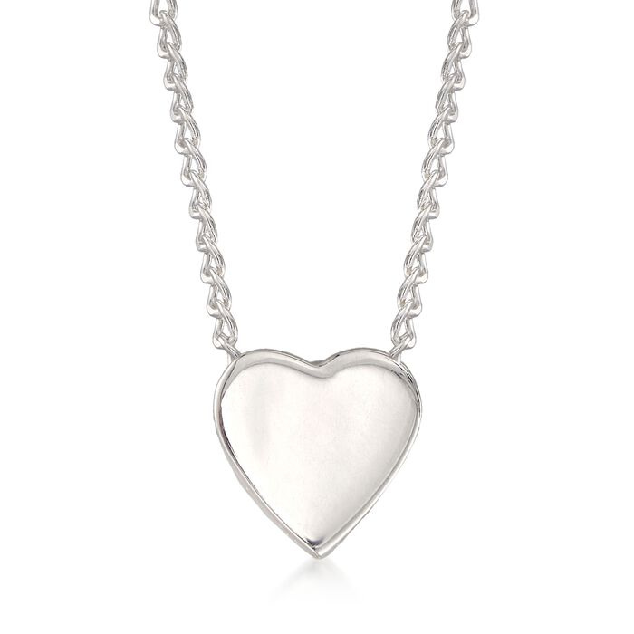"""Zina Sterling Silver """"Contemporary"""" Mini Heart Necklace. 17"""", , default"""