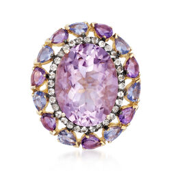 9.00 Carat Pink Amethyst and 2.00 ct. t.w. Multi-Stone Ring in 14kt Gold Over Sterling, , default