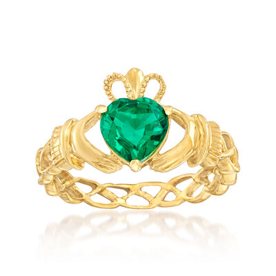 1.20 Carat Simulated Emerald Claddagh Ring in 18kt Gold Over Sterling, , default