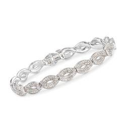 """1.00 ct. t.w. Diamond Link Bracelet in Sterling Silver. 7"""", , default"""