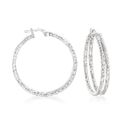 Italian Sterling Silver Double-Hoop Earrings