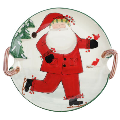 "Vietri ""Old St. Nick"" Handled Round Platter from Italy"