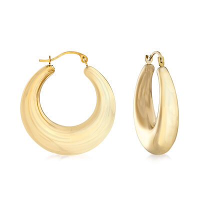 Andiamo 14kt Yellow Gold Graduated Oval Hoop Earrings, , default