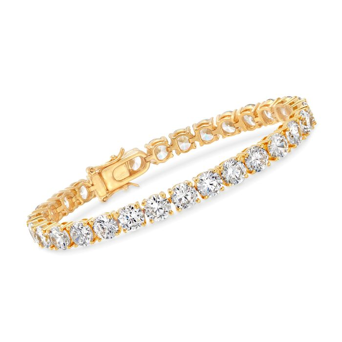 """23.00 ct. t.w. CZ Tennis Bracelet in 18kt Gold Over Sterling. 8"""", , default"""