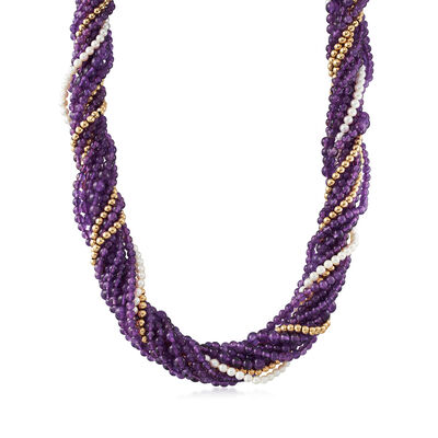 C. 1970 Vintage Amethyst and Cultured Pearl 10-Row Beaded Necklace in 14kt Yellow Gold