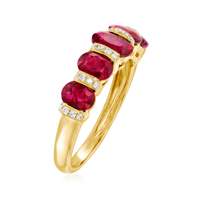 2.60 ct. t.w. Ruby and .11. ct. t.w. Diamond Ring in 14kt Yellow Gold