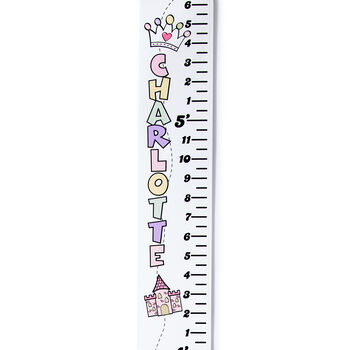 White Personalized Princess Theme Growth Chart, , default