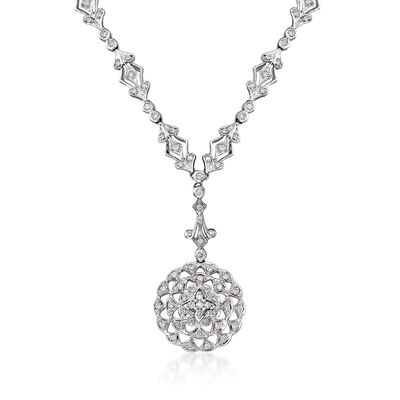 C. 1990 Vintage .75 ct. t.w. Diamond Circle Drop Necklace in 18kt White Gold