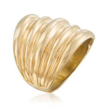 Italian 18kt Yellow Gold Over Sterling Silver Ribbed Ring. Size 5, , default